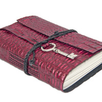 Burgundy Alligator Embossed Leather Journal with Key and Bookmark - Ready to Ship -
