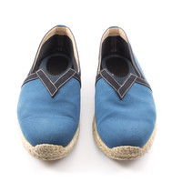 Teal and Black Slip-On Canvas Espadrille Shoes