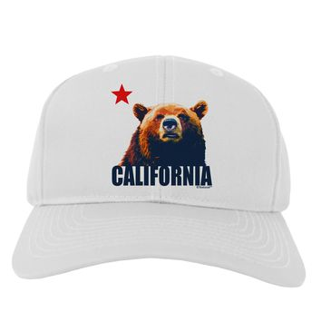 California Republic Design - Grizzly Bear and Star Adult Baseball Cap Hat by TooLoud