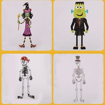 DIY Hanging Halloween Decoration Witch Ghost Pumpkin Man Skeleton Funny Joke Party Props Scary Figurine Paper Model Assemble Toy