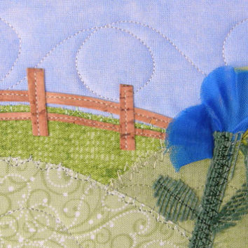 Fabric Postcard Royal Blue Yellow Flowers Quilted Landscape Handmade Greeting Card Postcard Art Landscape Art Outdoor Nature