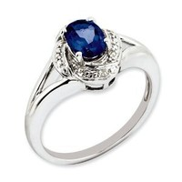 Sterling Silver Diamond & Created Sapphire Ring