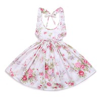 Toddler / Girls vintage Floral Print Girls Dress