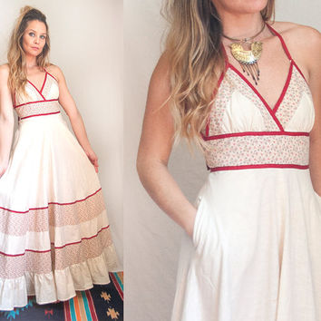 70s Gunne Sax Summer Maxi Dress XS Small Spaghetti Strap | Strapless Floral Hippie Boho Chic Full Swing Skirt | Long Bohemian Festival Dress