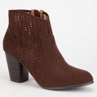 Qupid Sake Womens Booties Brown  In Sizes