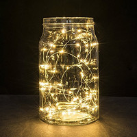 String Lights, Oak Leaf 2 Set of Micro 30 LEDs Super Bright Warm White Color Wire Rope Lights Battery Operated on 9.8 Ft Long Copper Color Ultra Thin String Copper Wire F Home Bedroom Party Tree