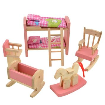 Wooden Doll Bunk Bed Set For Dollhouse