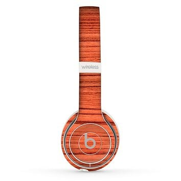 The Bright Red & Black Grained Wood Skin Set for the Beats by Dre Solo 2 Wireless Headphones