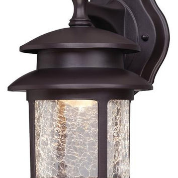LED Outdoor Wall Lantern, Oil Rubbed Bronze Finish on Cast Aluminum with Crackle Glass
