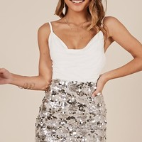 Never boring Skirt in silver sequin Produced By SHOWPO