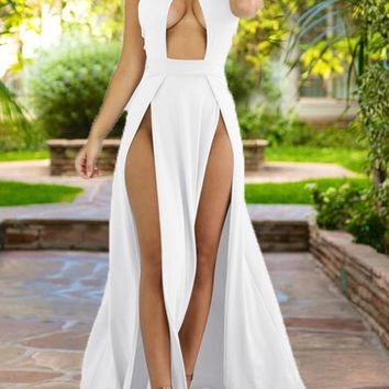 White Draped Cut Out Side Slit Halter Neck Flowy Bohemian Party Maxi Dress