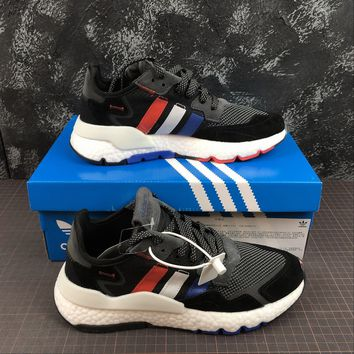 hcxx A1166 Adidas Nite Jogger 2019 3M Reflection Boost Running Shoes Black Gray Red White Blue