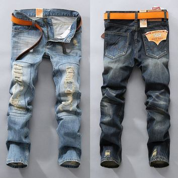 Ripped Holes Pants Fashion Jeans [407120216093]