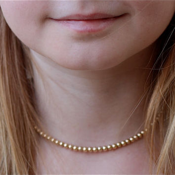 Gold Necklace, Little Girl Gold Beaded Necklace, Child Children Gold Jewelry,  Girl Keepsake Gift