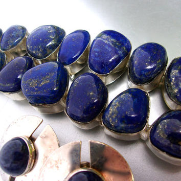 Blue Lapis Lazuli Bracelet & Earrings, Sterling Silver Set, Heavy with Toggle, Vintage