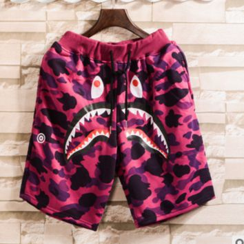 Bape Aape summer new men wear popular logo camouflage shark mouth print sports short Red