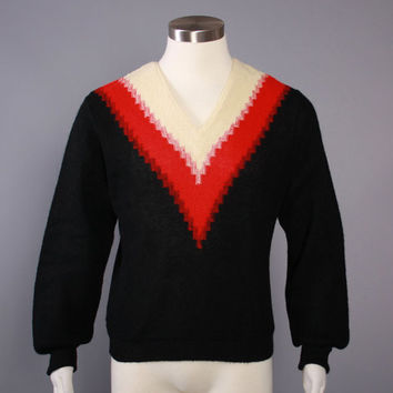 1950s Mens ALPACA SWEATER / Vintage 50s Black, Red & Ivory V Neck Rockabilly Jumper, S M