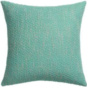 """Diamond Weave Aqua 18"""" Pillow With Feather-down Insert"""