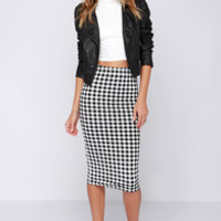 Glamorous Double Checked Black Checkered Print Midi Skirt