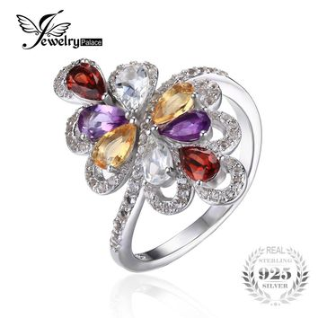JewelryPalace New 1.8ct Natrual Amethyst Garnet Citrine Green Amethyst Cocktail Ring 925 Sterling Silver Fashion Rings for Women