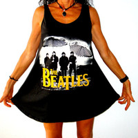 THE BEATLES yellow print black short mini baby doll style dress one size M  L