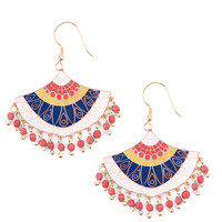 Embellished Fan Earrings Red and Blue