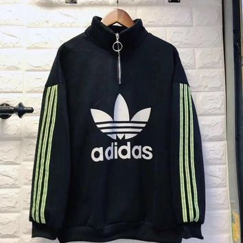 """Adidas"" Women Casual Fashion Letter Logo Print Stripe Long Sleeve Zip Turtleneck Sweater Pullover Tops"