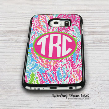 Lilly Pulitzer Lets Cha Cha Monogram Samsung Galaxy S6 Case Cover for S6 Edge S5 S4 Case