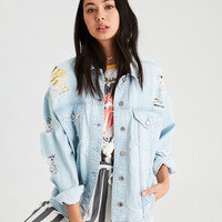 AE Destroy Denim Boyfriend Jacket, Powder Blue