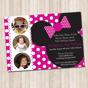 Minnie Mouse Birthday Invitation in hot pink polka dots with picture