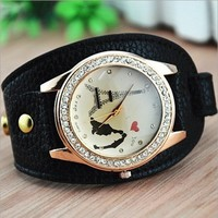 Unique Handmade Round Dial Watch with Rhinestone 77