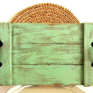 Pallet Wood Tray Jadite Green Mint reclaimed wooden weathered distressed Nautical Beach Decor Rustic tray, Coastal Decorative serving tray