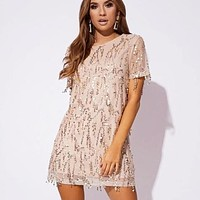 New fashion solid color tassel hollow short sleeve dress women Apricot