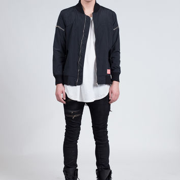 Fighter Jet Bomber Jacket in Black