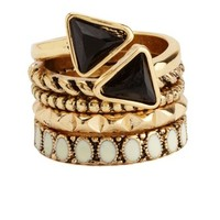 ETCHED, ENAMEL & STONE STACKABLE RINGS - 5 PACK