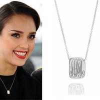 Jessica Alba Celebrity Style Monogram ID Charm in Sterling Silver