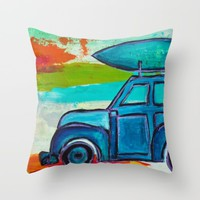 Let's Go Surfing Throw Pillow by Sophia Buddenhagen