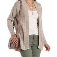 Gray Combo Slouchy High-Low Cardigan Sweater by Charlotte Russe
