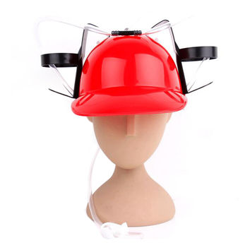 Beer Drinking Helmet (U Pick Color) Hat Game Drink Fun Party Baseball Dispenser  RED