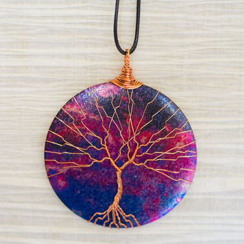 MOTHERS DAY Tree of Life copper wire wrapped metal slice with Printed Galaxy