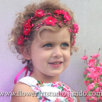 Girl Woodland Flower Crown, Pink Flower Girl Crown, Baby Flower Crown, Hair Wreath for Girl, Fairy Crown, Flower Girl Halo, Infant Headband.