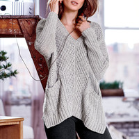 Mixed-stitch V-neck Poncho - Cozy Sweaters - Victoria's Secret