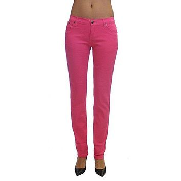 Fushsia Colored Denim Skinny Jeans