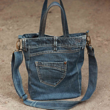 Recycled denim bag, casual denim bag, upcycled denim bag, handbag, tote bag