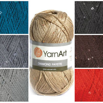 YarnArt DIAMONT PAYETTE, cotton yarn, knitting yarn, crochet cotton yarn, knitting supplies, baby dress yarn, sweater yarn, sequined yarn