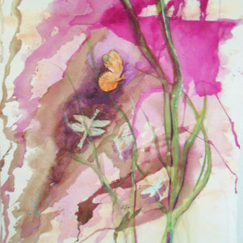 Pink dragonfly painting original watercolor  - 15 x 22 inches unmatted - dragonfly art - original painting - pink decor - nature painting