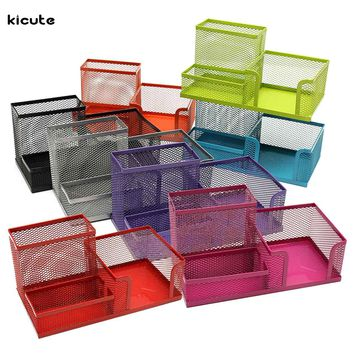 Top Quality Multifunctional Metal Pen Holder Mesh Pencils Desk Desktop Storage Organizer Box Three Slots Home Office Stationery
