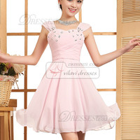 A-line Straps Mini Chiffon Rhinestone Homecoming Dresses - US $96.79