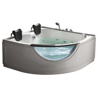 Shop Northeastern Bath 2-Person White Acrylic Corner Whirlpool Tub (Common: 60-in x 59-in; Actual: 30-in x 59-in) at Lowe's