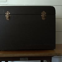 Vintage Black File Box or Storage Trunk